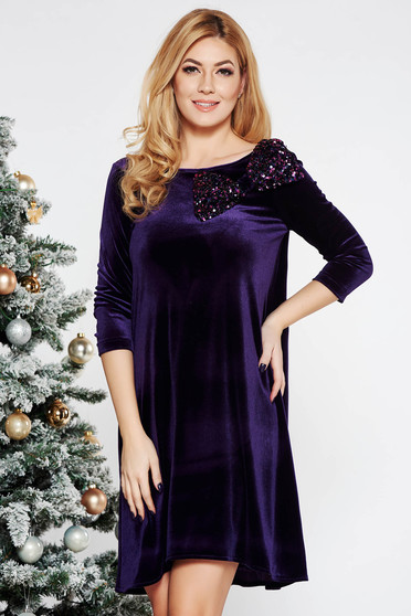 StarShinerS purple occasional flared velvet dress bow accessory with sequins