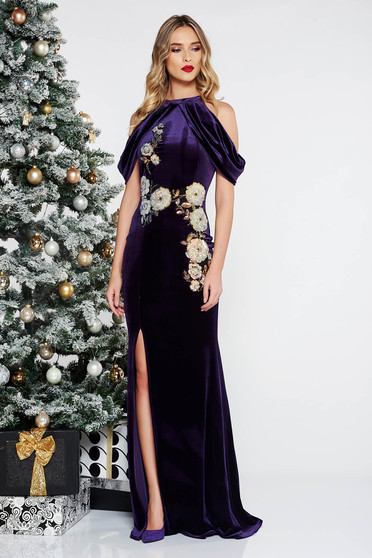 StarShinerS purple occasional mermaid velvet dress with sequins off shoulder