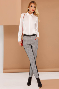 PrettyGirl grey trousers office conical from non elastic fabric with medium waist with faux leather details