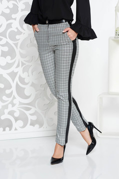 PrettyGirl grey office conical trousers from non elastic fabric with medium waist with faux leather details
