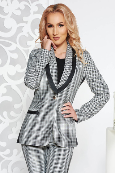 PrettyGirl grey office jacket from non elastic fabric arched cut with faux leather details