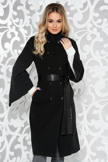 PrettyGirl black coat cloth with inside lining arched cut with pockets accessorized with tied waistband