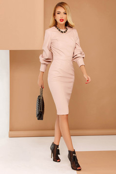 PrettyGirl rosa clubbing pencil dress from ecological leather long sleeve with inside lining