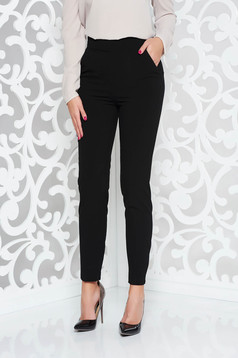 PrettyGirl black trousers office straight slightly elastic fabric high waisted