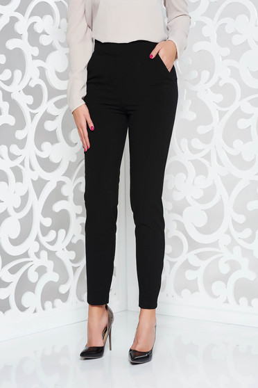 PrettyGirl black office trousers straight slightly elastic fabric high waisted