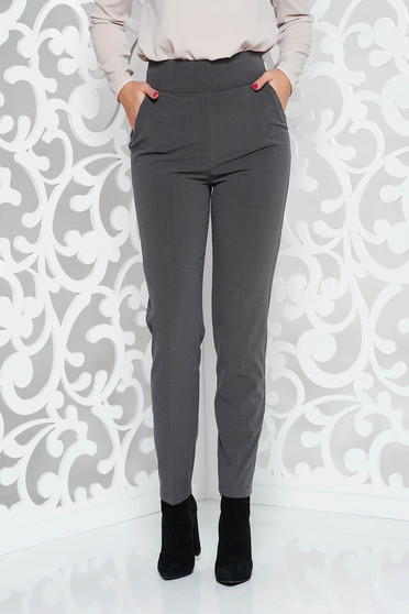 PrettyGirl grey office trousers straight slightly elastic fabric high waisted