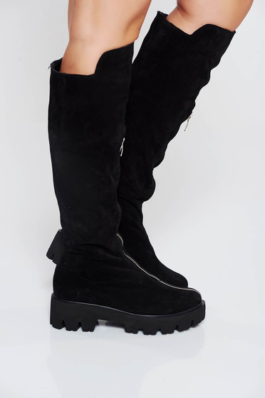 Black boots casual from suede natural leather zipper accessory
