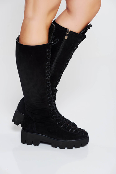 Black casual boots natural leather from suede with lace