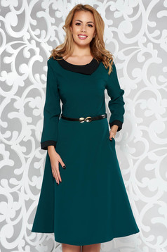 Darkgreen elegant cloche dress slightly elastic fabric accessorized with belt