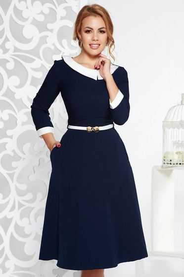 Darkblue elegant cloche dress slightly elastic fabric accessorized with belt