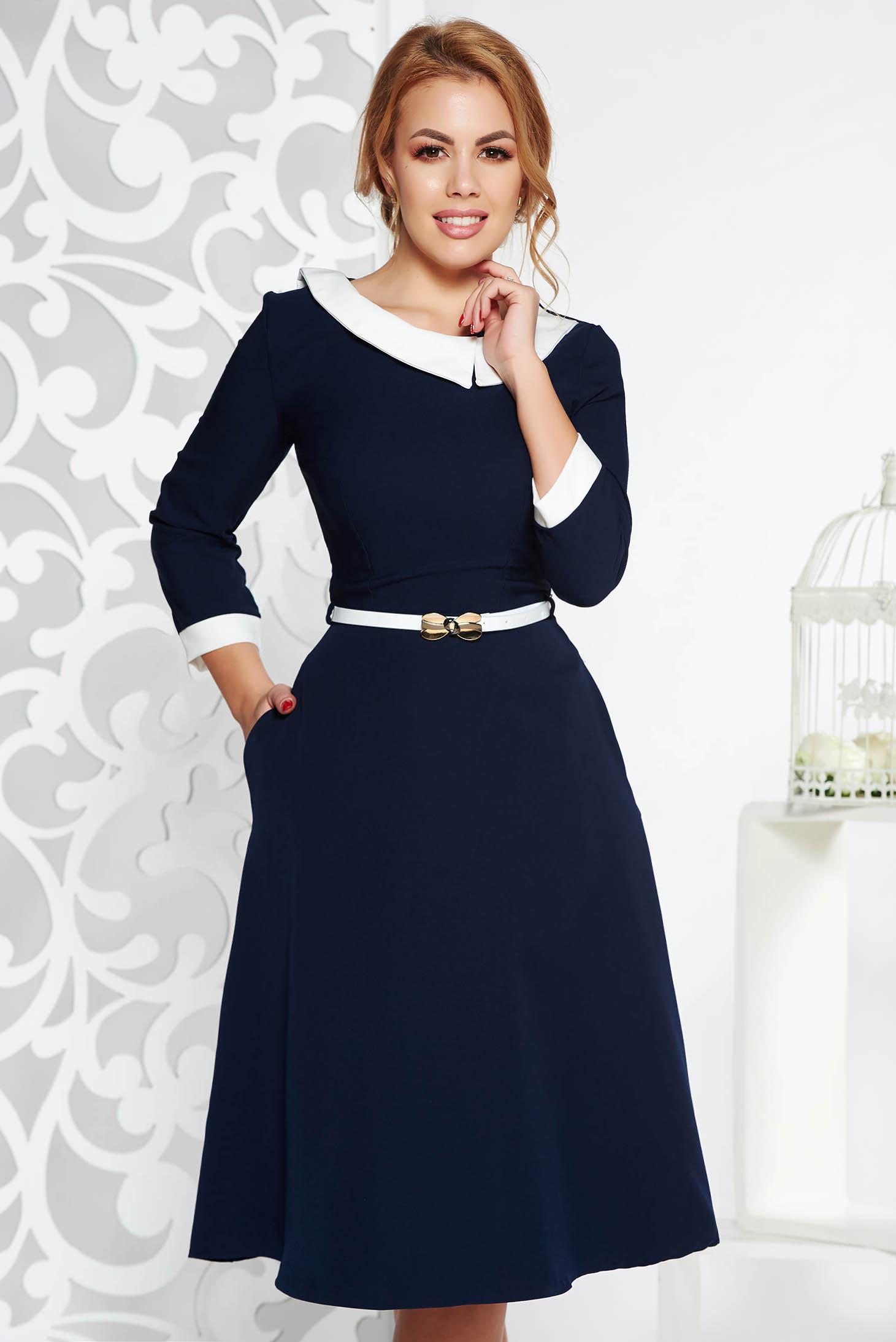 Darkblue elegant cloche dress slightly elastic fabric accessorized with belt