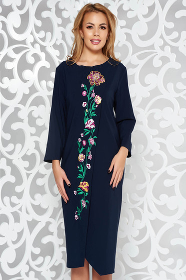 Darkblue elegant flared dress slightly elastic fabric with embroidery details