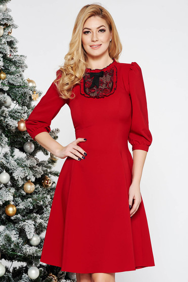LaDonna burgundy elegant cloche dress slightly elastic fabric with lace details with puffed sleeves