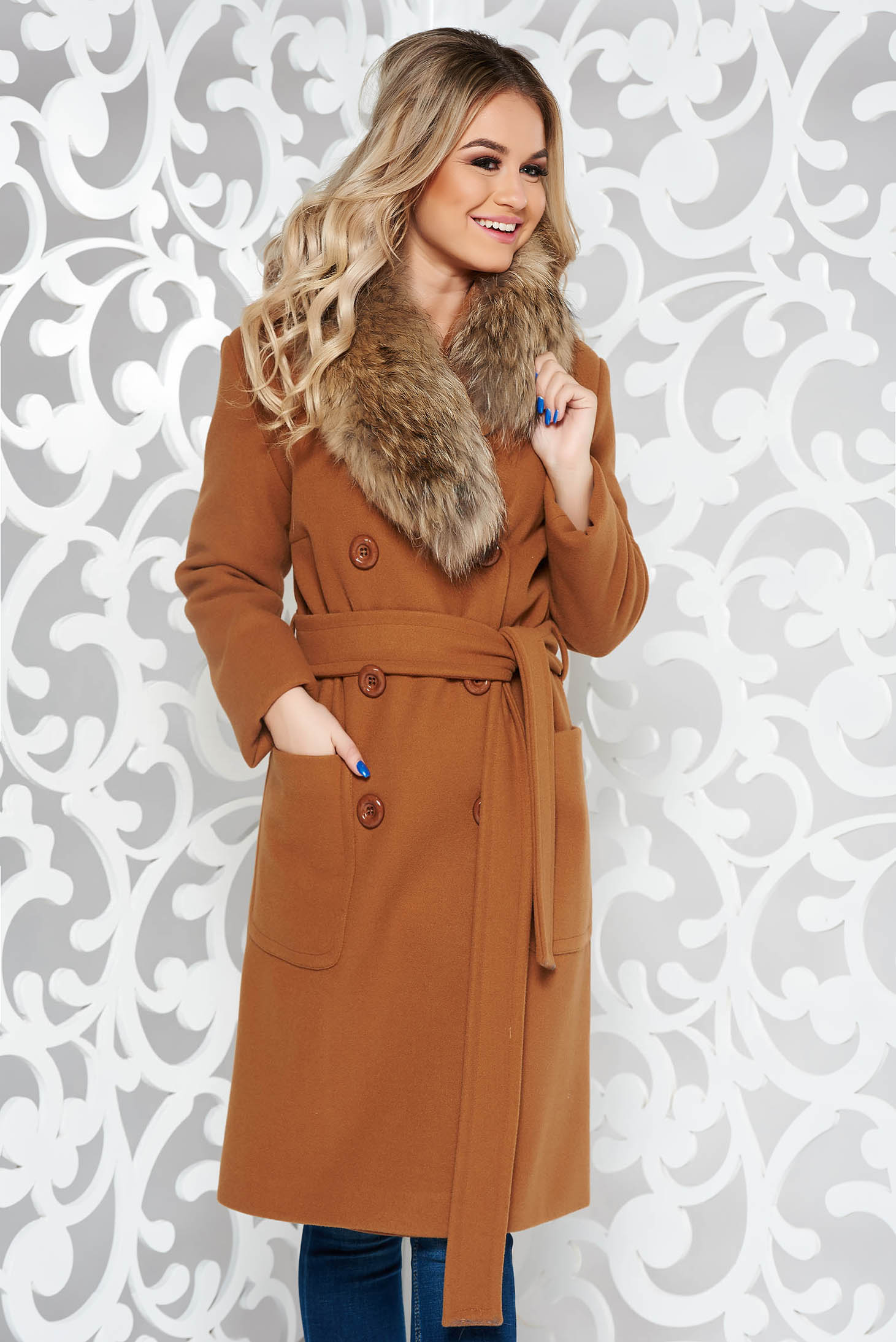 LaDonna brown elegant straight wool coat fur collar