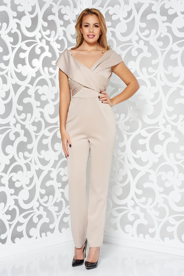 Cream occasional long jumpsuit with tented cut with v-neckline