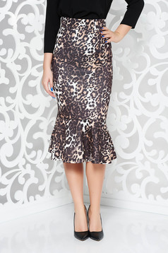 Brown midi high waisted scuba skirt with ruffles at the buttom of the dress
