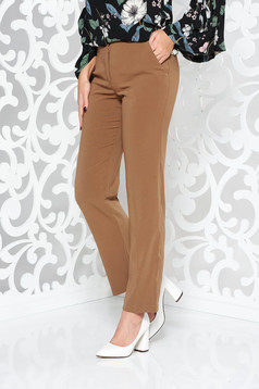 Brown office with medium waist trousers straight slightly elastic fabric