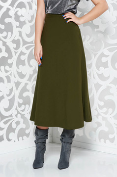 Darkgreen office high waisted cloche skirt slightly elastic fabric