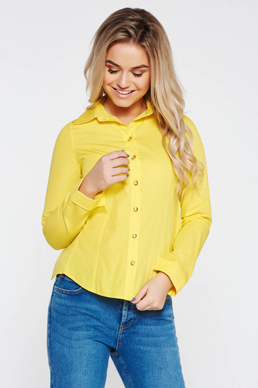 Yellow cotton long sleeve women`s blouse with cut back