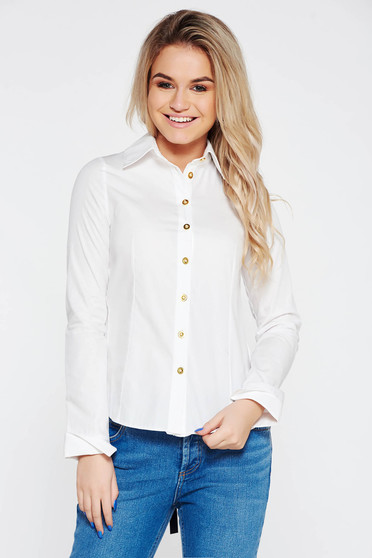 White cotton long sleeve women`s blouse with cut back