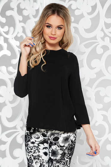 Black basic flared women`s blouse from non elastic fabric 3/4 sleeve