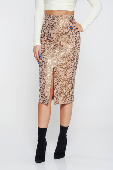 Rosa elegant high waisted pencil skirt from jacquard shimmery metallic fabric
