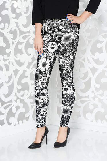 Black casual with medium waist trousers with tented cut from velvet fabric with floral print
