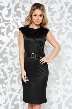 Black elegant midi dress slightly elastic cotton accessorized with belt