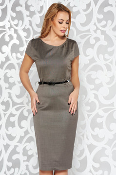 Darkgrey office pencil dress cloth accessorized with belt