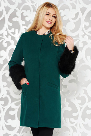 LaDonna green elegant straight wool coat with faux fur details