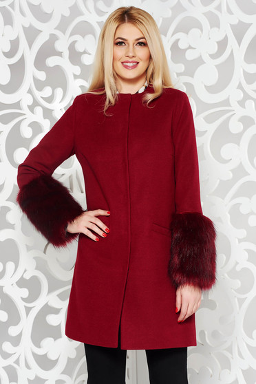LaDonna burgundy elegant straight wool coat with faux fur details