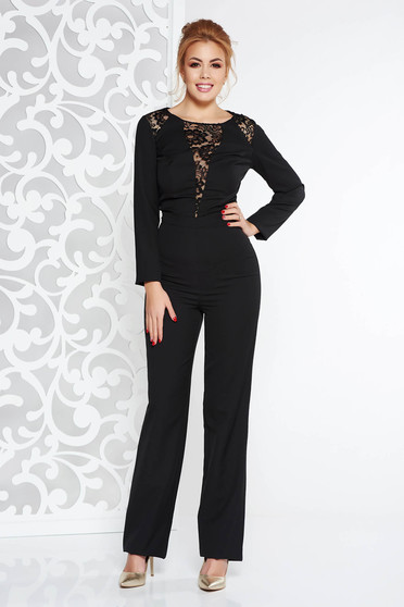Black occasional jumpsuit slightly elastic fabric with lace details