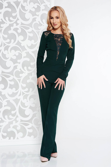 Darkgreen occasional jumpsuit slightly elastic fabric with lace details