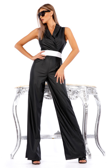 Ocassion black jumpsuit clubbing from ecological leather flaring cut accessorized with tied waistband