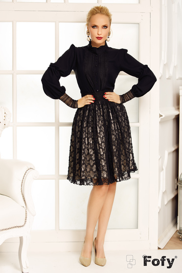 Fofy black elegant women`s blouse from veil fabric long sleeve with lace details