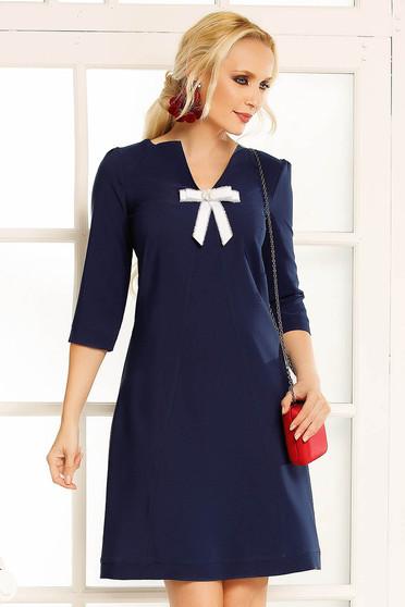 Fofy darkblue daily a-line dress slightly elastic fabric bow accessory