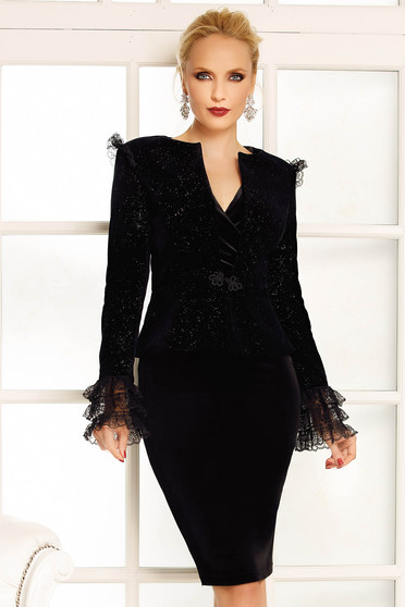 Fofy black occasional blazer velvet jacket with glitter details with lace details