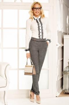 Fofy grey office trousers cloth with medium waist straight