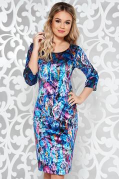 Blue daily velvet pencil dress 3/4 sleeve