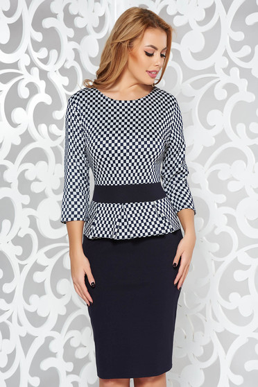 Black office pencil dress with 3/4 sleeves with frilled waist