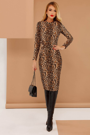 PrettyGirl brown daily pencil dress slightly elastic fabric animal print