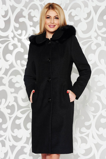 Black elegant from wool coat with straight cut with inside lining detachable hood