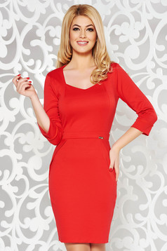 PrettyGirl red office pencil dress with v-neckline