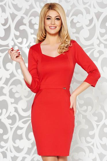 PrettyGirl red office pencil dress with v-neckline