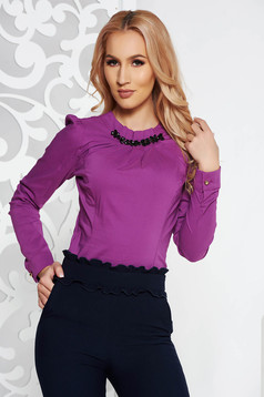 Fofy purple office tented women`s shirt slightly elastic cotton strass