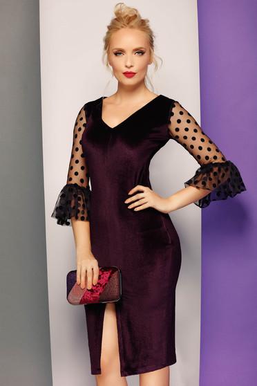 Fofy burgundy occasional pencil dress from velvet with v-neckline