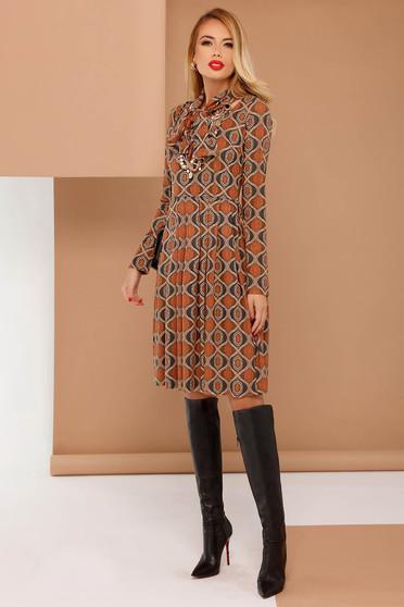 PrettyGirl brown daily cloche dress long sleeved from velvet fabric