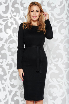PrettyGirl black casual pencil dress knitted fabric with inside lining accessorized with tied waistband