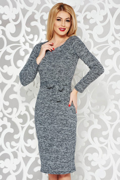 PrettyGirl grey daily midi dress knitted fabric accessorized with tied waistband
