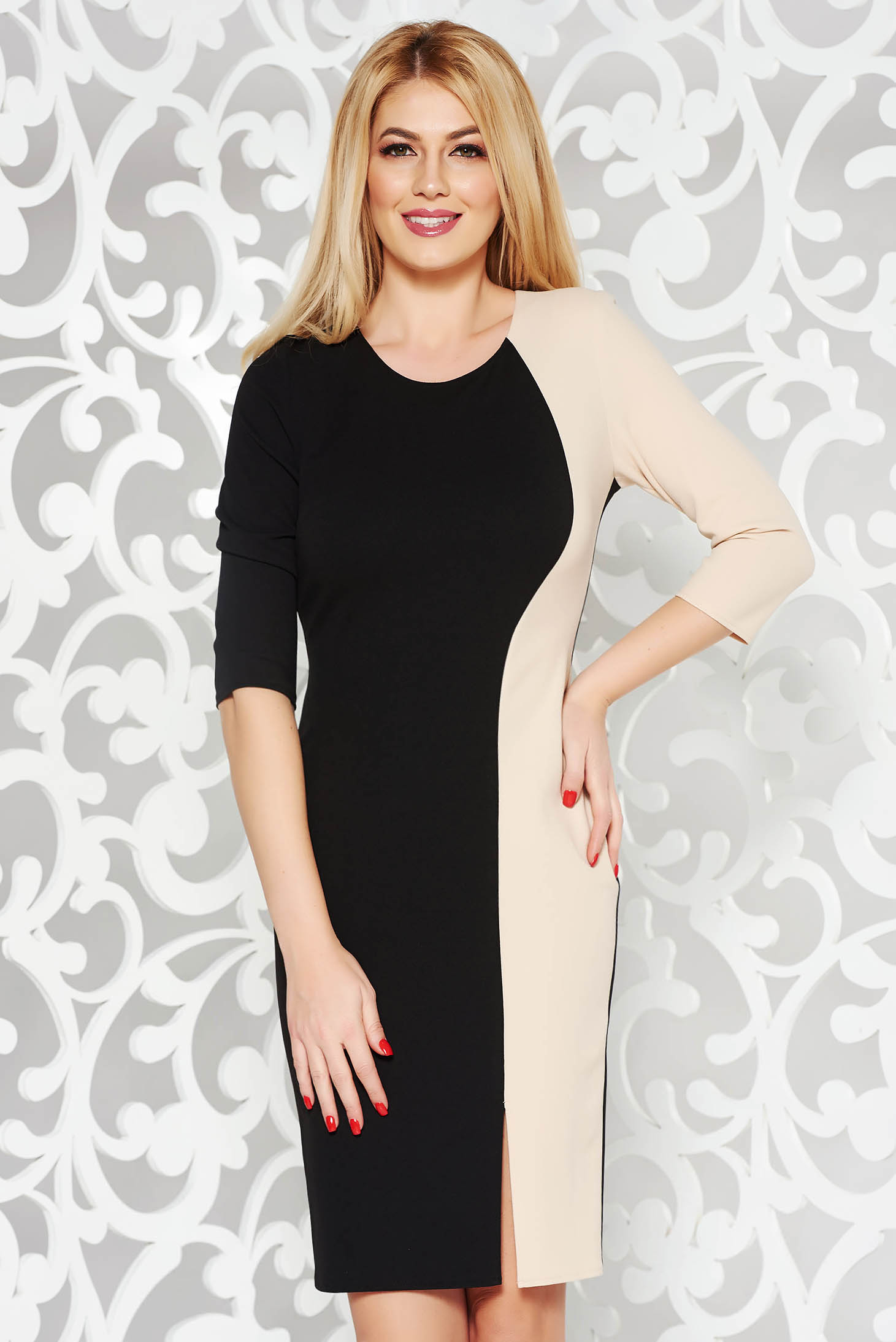 Black daily pencil dress with tented cut 3/4 sleeve